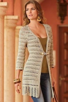 Open-stitch jewel cardigan from Boston Proper on Catalog Spree From fearlessly fitted to effortlessly chic, women's tops, blouses and sweaters at Boston Proper are sexy, distinctive, and flatter every figure. Visit Boston Proper to find fashionable women' Pull Crochet, Gilet Crochet, Crochet Coat, Crochet Cardigan Pattern, Crochet Jacket, Crochet Blouse, Crochet Shawl, Crochet Clothes, Crochet Sweaters