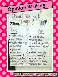 Opinion Writing about Eating Bugs! Yum!  Using infographics from a magazine to do opinion writing!  Students write a letter to their teacher to convince her/him to eat a bug!