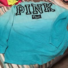 TWO TONE OVERSIZED VARSITY CREW Brand new soft and big PINK Victoria's Secret Tops Sweatshirts & Hoodies