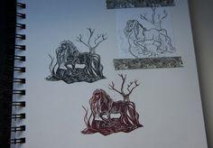 stempel_wasserpferd_skizzenbuch_detail Art, Stamping, Wood Carvings, Sketches, Art Background, Kunst, Performing Arts, Art Education Resources, Artworks
