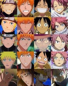Naruto, Bleach, One piece & Fairy Tail Naruto, Ichigo, Monkey D. Luffy & Natsu Dragneel