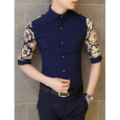 Fashion Colorful Ethnic Print Splicing Shirt Collar 3/4 Length Sleeve Slimming Cotton Shirt For Men, CADETBLUE, M in Shirts | DressLily.com