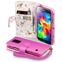 Hot Pink with Floral Interior PU Leather Wallet Case for Samsung Galaxy S5