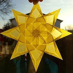 Transparent folding star yellow Diameter: with PDF folding instructions ww Diy And Crafts, Arts And Crafts, Paper Crafts, Tissue Paper Art, 12 Tribes Of Israel, Mandala, Origami Stars, Paper Stars, Paper Folding