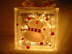 Let it Snow Glass Block Vinyl Design by sherae on Etsy