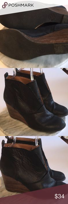 Lucky Brand Black Leather Wood Heel Wedge Booties Lucky Brand Black Leather Wood Heel Wedge Booties. Slip On. Very Nice Construction and Condition. Lucky Brand Shoes Ankle Boots & Booties