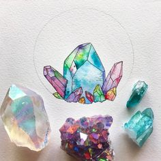 Ethereal Watercolor Works of the Moon & Nature Jessica Weymouth is an artist, adventurer and believer based in California whose watercolor and ink works have an aura of magic woven in them. Crystal Illustration, Illustration Art, Gem Drawing, Crystal Drawing, Art Plastique, Oeuvre D'art, Art Tutorials, Art Pictures, Art Inspo