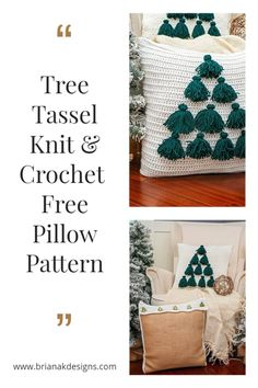 Isn't there something just so cozy about rustic and cabin home decor? While the Tree Tassel Knit & Crochet Pillows were inspired by the holidays, I really think they would look great all year round. This is an easy crochet or knit pattern and instructions for both versions are on this blog post. Crochet Christmas Decorations, Christmas Crochet Patterns, Holiday Crochet, Crochet Home, Easy Crochet Patterns, Crochet Gifts, Knit Crochet, Crochet Ideas, Christmas Ideas