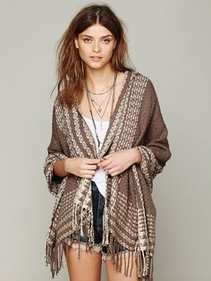 Free People Hooded Poncho, $68.00 ivory.