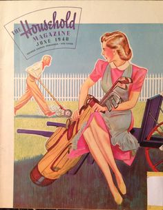 I have this exact issue! Getting Hubby to Mow the Lawn Household Magazine 1940 Vintage Golf, Vintage Ads, Vintage Posters, Vintage Humor, Vintage Advertisements, Golf Art, Retro Housewife, Golf Fashion, Cheap Fashion