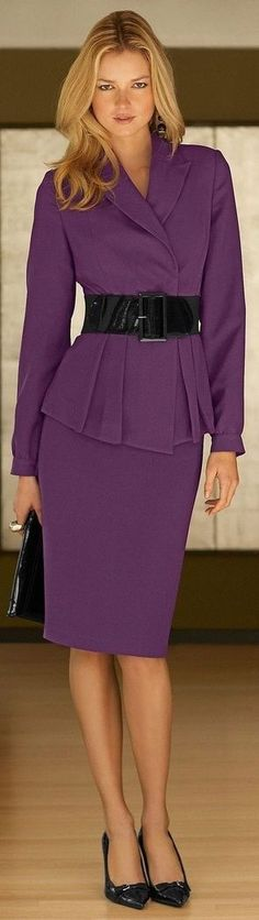 Street Style, matching skirt suit + wide belt, can be done with block colors too: