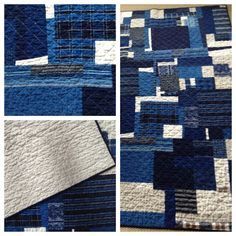 Collaboration with a master quilter Vintage Japanese remnants Indigo Boro Patch and Linen Quilt designed by Cloth and Goods