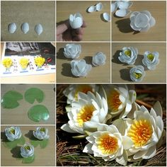 Lily of plastic spoons may not be brighter than the flower of corrugated paper , but it has its advantages . Unlike paper , plastic tolerates moist environment , so a pretty flower can decorate a small artificial pond . Furthermore , the plastic inlay can tolerate wet cleaning , …