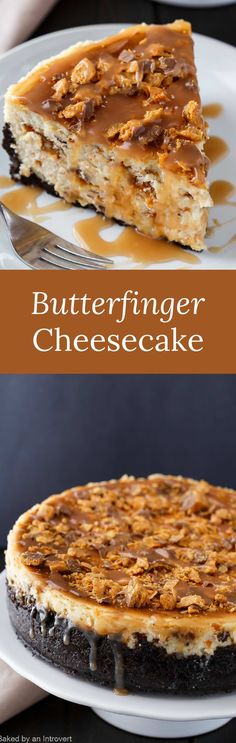 There is so much to love about Butterfinger Cheesecake with Caramel Drizzle. Butterfinger bars and cheesecake is an incredible combination. via @introvertbaker Butterfinger Cheesecake, Nutella Cheesecake, Cheesecake Recipes, Dessert Recipes, Strawberry Cheesecake, Yummy Treats, Sweet Treats, Yummy Food, Coconut Dessert