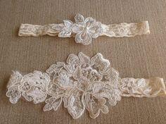 Royalty elegance ivory lace wedding garter bridal garter ivory lace garter with beautiful bridal quality embroidery. $30.00, via Etsy.
