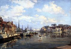 John Stobart Limited Edition Print - Weymouth Harbour: The Inner Harbour of One of England's Channel Ports in 1954 Old Pictures, Old Photos, Weymouth Harbour, Nautical Artwork, Ship Paintings, City Painting, Photo Transfer, Realism Art, Artist At Work