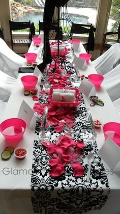 Hostess with the Mostess® - Pink, Black, White and Damask Tween Spa Party. Repinned by #indianweddingsmag #tablescape #black #white #weddings #couples #bride #groom #brideandgroom #summerweddings #aboutindianweddings indianweddingsmag.com