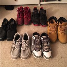 Men's shoes size 10-11 All shoes in great condition.                                        red Nike basketball shoes (original: $75 selling: $15), black and red zigtechs (original: $110 selling:$15), black dress shoes (original: $65 selling: $15), Grey nikes (sold), Grey and white Jordan's (original: $250 selling: $60), and Sonoma work boots(original: $50 selling: $10). Shoes Athletic Shoes