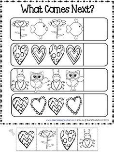 PATTERNS: Valentine Patterns Printables Preschool Lesson Plans, Preschool Letters, Preschool Learning Activities, Preschool Worksheets, Preschool Activities, Pattern Worksheet, Puzzle Games, Printable Letters, Little Learners