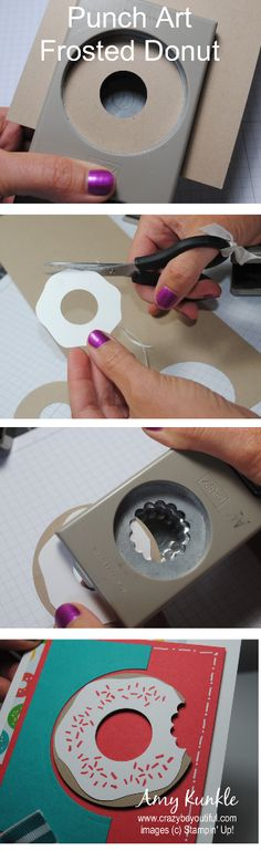 Frosted Donut punch art, simple steps with three punches, by Amy Kunkle