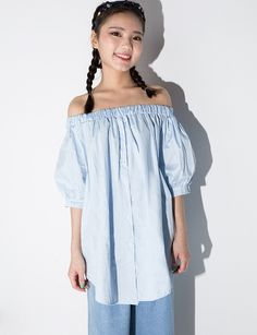 2aadc3e51bde53 Blue Off The Shoulder Puff Sleeve Casual Blouse