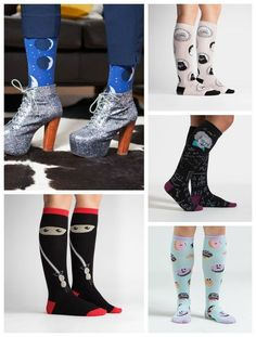 We found fun socks for women in pop culture themes like ninjas, donuts, and a fancy kitty cameo