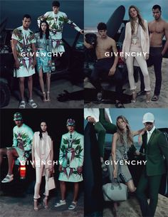 Spring 2012 Givenchy.  Models: Gisele Bündchen, Mariacarla Boscono, Simone Nobili, and Chris Moore. Photographers: Mert and Marcus.