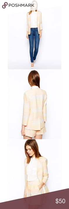 """ASOS Blazer in Metallic Pastel Stripes LIKE NEW 10 This is in LIKE NEW Condition! Size: US 10. No buttons. Two front pockets. Fully lined. Bust:19"""" Length:27"""" Sleeves:24"""" Asos Jackets & Coats Blazers"""