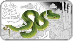 Australia Silver: 2013 Year of the Snake One Ounce Silver Art Bar Four-Coin Lunar Calendar Series Coin Icon, Academic Calendar, Year Of The Snake, Snake Art, Moon Calendar, Australian Animals, Silver Bars, Green Trees, Animales