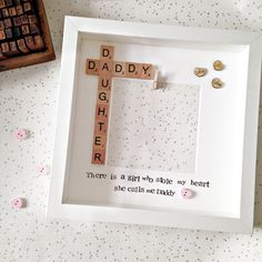 Daddy Daughter Photo Frame- Fathers Day Gift - Personalised Scrabble Frame- There is a Girl Who Stole My Heart She Calls Me Daddy Diy Birthday Gifts For Mom, 1st Fathers Day Gifts, Diy Father's Day Gifts, Father's Day Diy, Fathers Day Crafts, Christmas Gifts For Mom, Daddy Gifts, Daddy Daughter Pictures, Dad Pictures