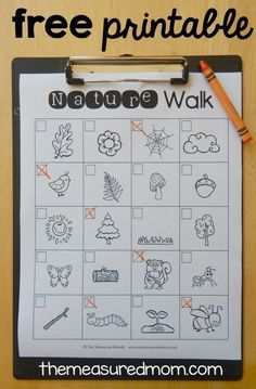 free printable nature walk scavenger hunt