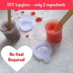 Diy lip gloss only two ingredients - no heating required! great as a tween/teen girl birthday party activity and loot bag idea. awesome craft idea for kids. Diy Crafts For Teens, Diy For Girls, Fun Crafts, Tween Craft, Teen Diy, Kids Diy, Teen Girl Crafts, Tween Girls, Kids Girls
