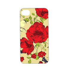 iPHONE COVER  Bold Red flowers and deep by DynamicImprintables, $16.00