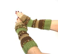 Hand Knit Fingerless Gloves Arm Warmers Beige Tan Brown Green Multicolor - pinned by pin4etsy.com