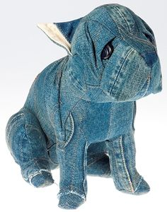 """Levi's Denim Puppy (The Japanese artists from the """"Cram Jem Chest"""" group created a series of lovely puppies, made of vintage Levi's 501XX jeans.)"""