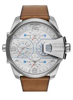 a8cf958ec1e2 Diesel DZ 7374 mega chief brown leather strap Men s Watches Diesel Outlet