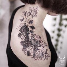 Flower and bird shoulder tattoo - 55 Awesome Shoulder Tattoos  <3 <3