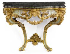 A pair of South Italian Rococo green-painted and carved giltwood console tables<br>Naples, mid-18th century | Lot | Sotheby's