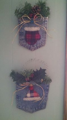 Cute and very simple winter craft idea. I cut out a denim pocket from an old pair of jeans, and a hat and a mitten from an old flannel s. Cowboy Christmas, Noel Christmas, Homemade Christmas, Christmas Sewing, Christmas Projects, Holiday Crafts, Christmas Ideas, Jean Crafts, Denim Crafts