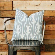 awesome pillows! Blue/Grey Kaleidoscope. goodsbygrinn.com