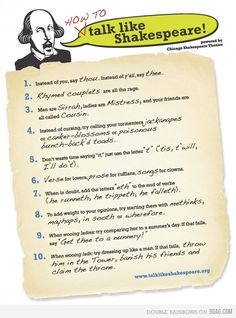 I'm sharing this one with my students for sure! How to Talk Like Shakespeare :)