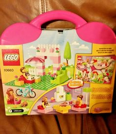 LEGO 10660 Pink House Suitcase 151 Pieces Young Builders Bicycle People Cat #LEGOJuniors