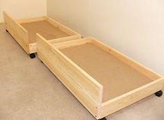 Under bed storage drawers - set of two storage underbed draws Diy Storage Under Bed, Under Bed Drawers, Underbed Storage Drawers, Diy Drawers, Furniture Storage, Furniture Plans, Furniture Design, Bedroom Storage, Bedding Storage