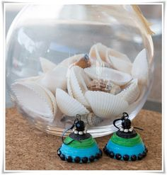 Blue and Green Jhumkas by PondyBazar on Etsy, $10.00