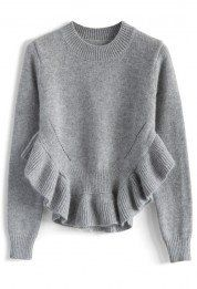 Adorable Frilling Hemline Sweater in Grey
