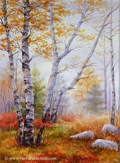 Birch Trees ~ Varvara Harmon - Artist and Illustrator - Original Paintings, Watercolors: