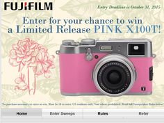 Enter the FUJIFILM Pink X100T Sweepstakes for a chance to win a FUJIFILM Pink X100T Camera!
