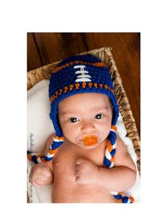 Blue Orange and White Football Beanie  llll by PinkPumpkinCrochet, $26.00  Broncos babies!!! I SOOO need for this little one :)