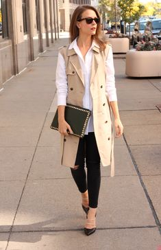 Penny Pincher Fashion trench vest + black skinnies + white blouse
