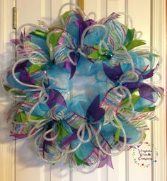 Vibrant Blues, Purples and Green's Spring Deco Mesh Wreath.